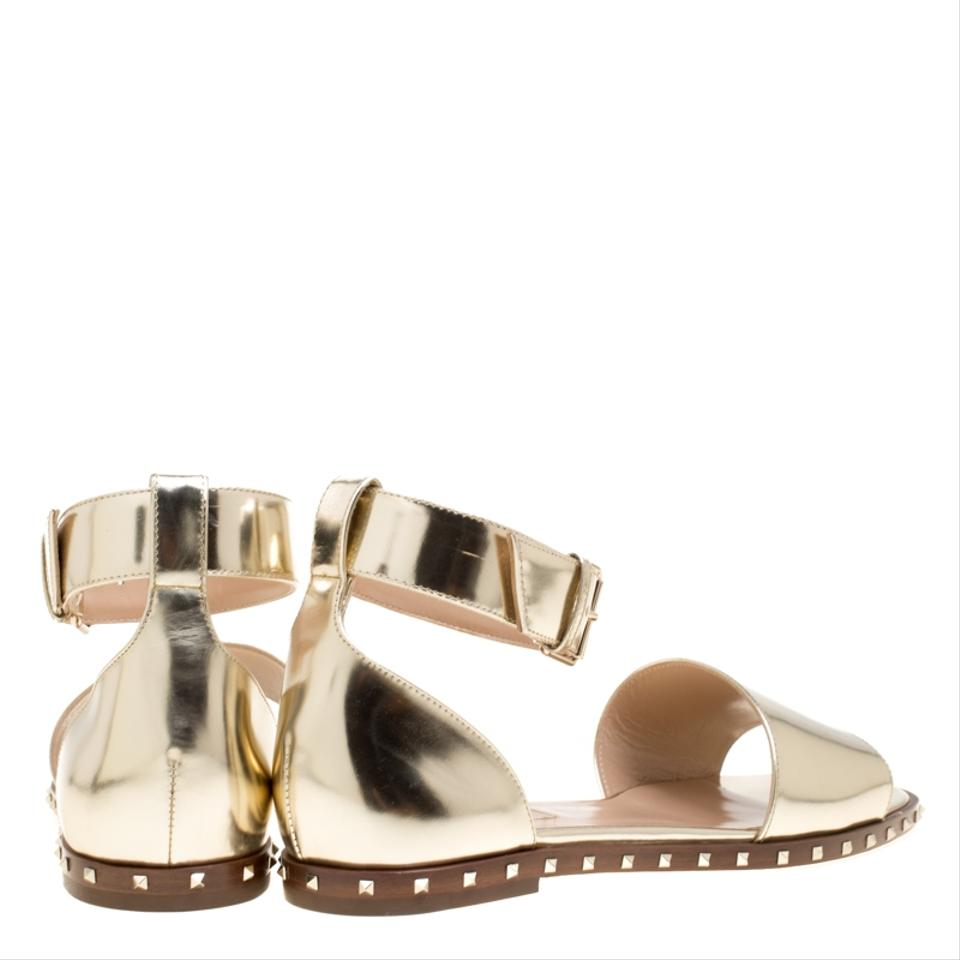 f12127517da2 Valentino Gold Leather Soul Rockstud Ankle Strap Flat Sandals Size ...