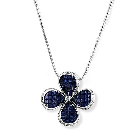 Preload https://img-static.tradesy.com/item/24828299/70-ct-diamonds-1267-ct-invisible-blue-sapphire-14k-white-gold-flower-necklace-0-0-540-540.jpg