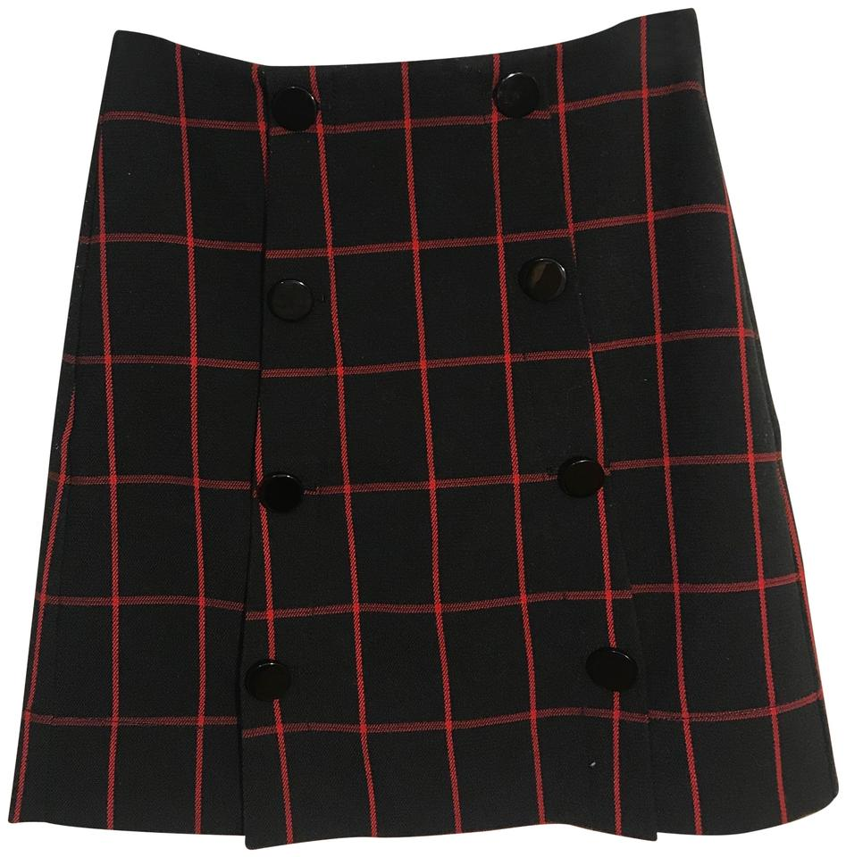a3170bc90a Ann Taylor LOFT Red and Black Windowpane Skirt Size Petite 0 (XXS ...
