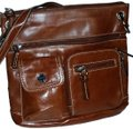 Giani Bernini Leather Crossbody Long Strap Many Pockets New Brown NWT Messenger Bag