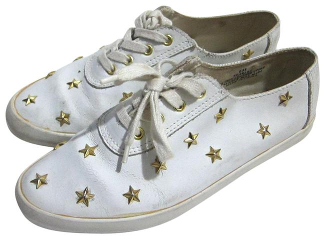 Item - White Wht Leather Gold Star Studded Casual Tennis Women's Flats Size US 6 Regular (M, B)
