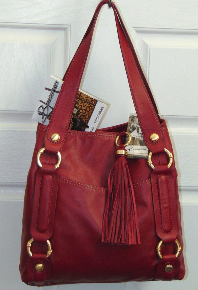 1f8bff7c9eb B. Makowsky Red Leather Shoulder Bag - Tradesy
