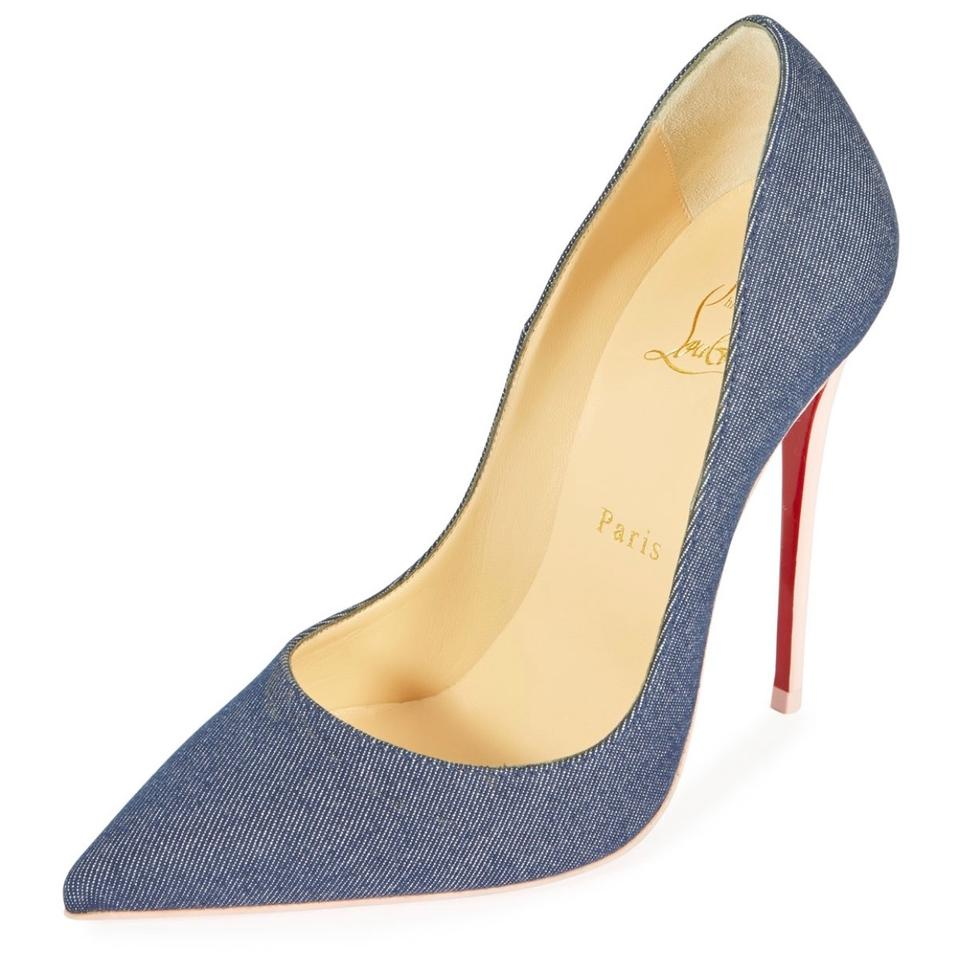 pretty nice 8eb93 ef96a Christian Louboutin Denim So Kate 120 with Pink Patent Leather Heel Pumps  Size US 7.5 Regular (M, B) 27% off retail
