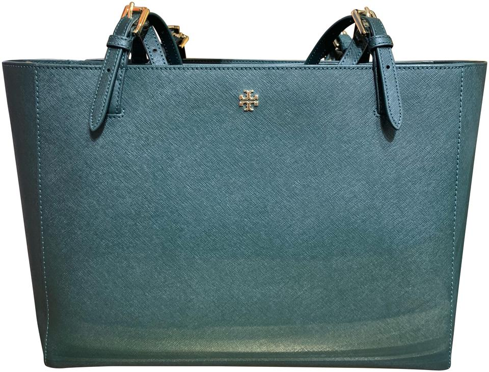 59f54caa83 Tory Burch Emerson Buckle Jitney Green Saffiano Leather Tote - Tradesy