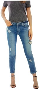Paige Skinny Distressed Applique Cropped Boyfriend Cut Jeans-Distressed
