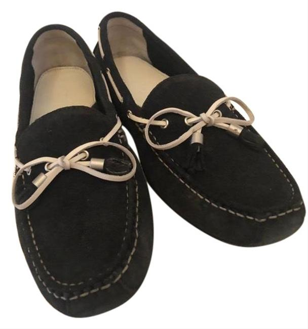 Item - Black with Off White Tie Suede Driver/Never Worn Flats Size US 9 Regular (M, B)