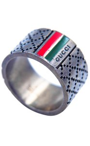 Gucci Signature Logo Stripe Guccissima Cross Stitch Ring