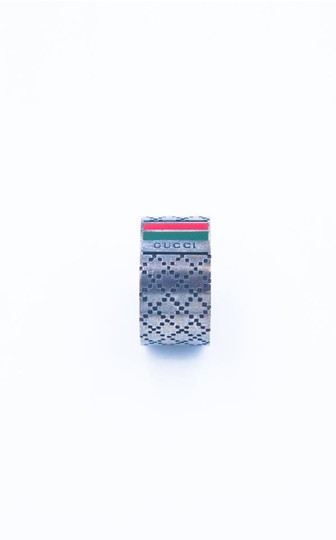Gucci Signature Logo Stripe Guccissima Cross Stitch Ring Image 1