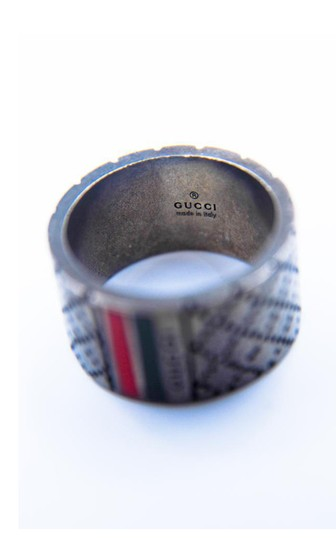 Gucci Signature Logo Stripe Guccissima Cross Stitch Ring Image 2