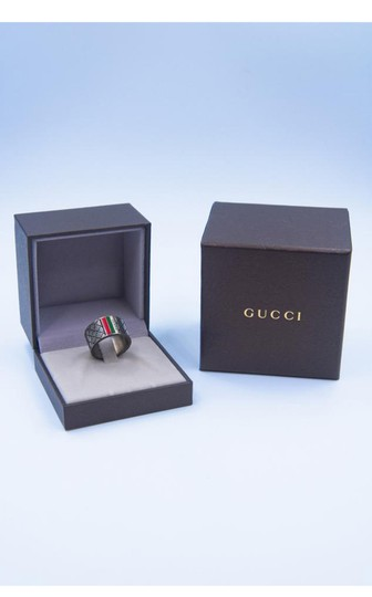 Gucci Signature Logo Stripe Guccissima Cross Stitch Ring Image 3