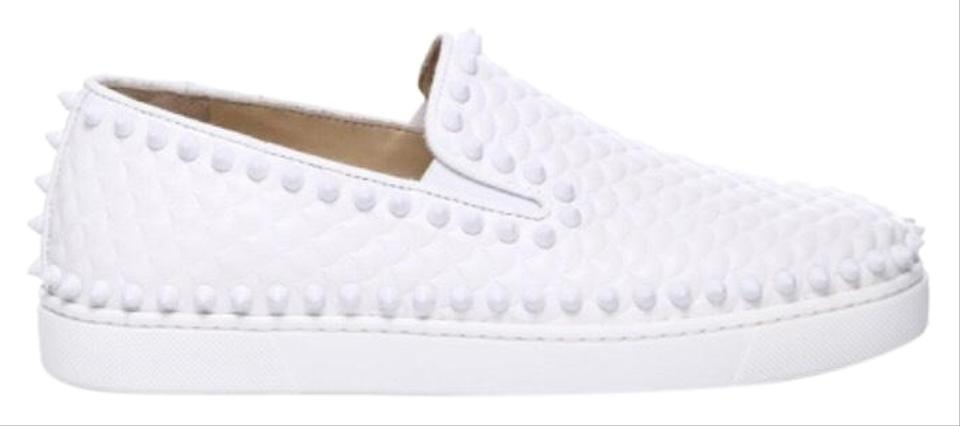 more photos 9d1d1 2b07a Christian Louboutin White Pik Boat Latte Slip On Scallop Embossed Spiked  Skate Flat Sneakers Size EU 37.5 (Approx. US 7.5) Regular (M, B)