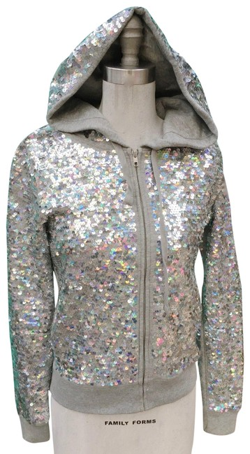Item - Silver XS Sequin Fashion Show Jacket Activewear Outerwear Size 2 (XS)