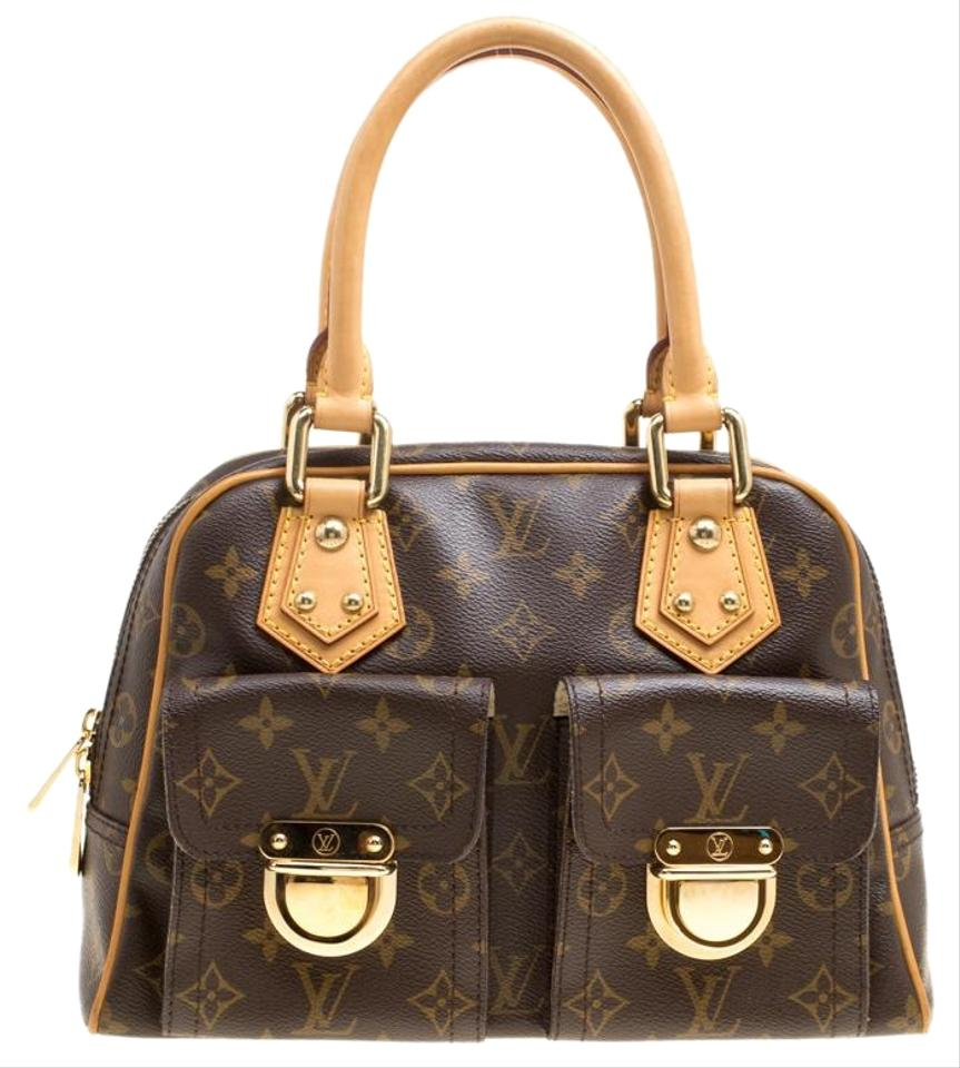 7bba143f43c7 Louis Vuitton Manhattan Monogram and Leather Pm Brown Canvas Shoulder Bag