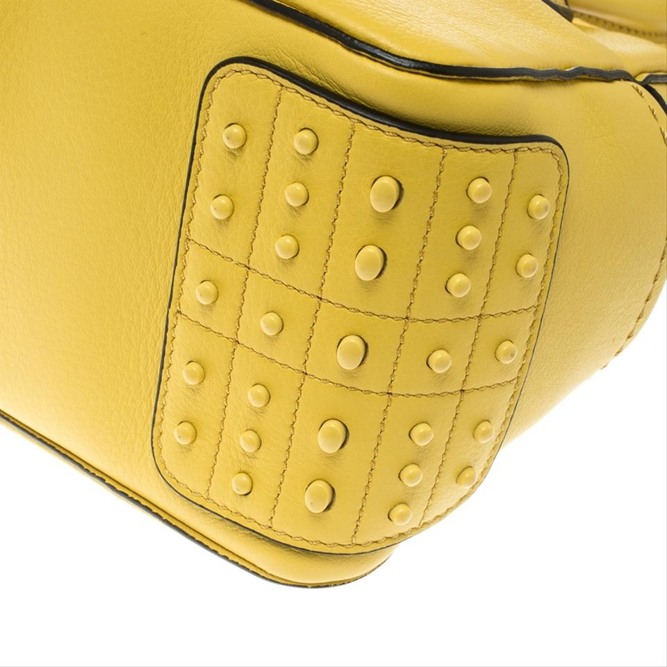 0fd4f7d44a7a Tod s Mini Nuovo Miky Top Handle Yellow Leather Shoulder Bag - Tradesy