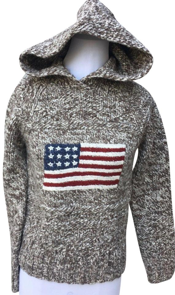 45a58c58f7bd Ralph Lauren Brown and White Polo Jeans Co. M Heavy Knit Wool Flag  Sweatshirt Hoodie