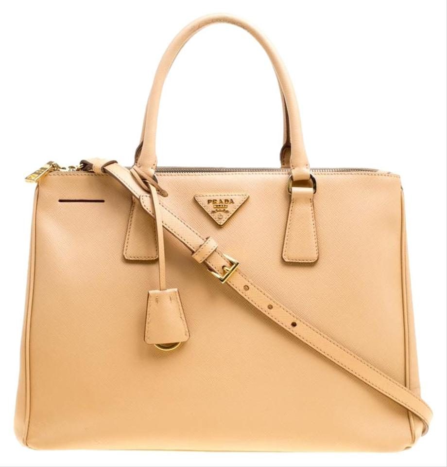 Prada Galleria Double Lux Saffiano Medium Zip Top Handle Beige Leather  Shoulder Bag 14c54b50029dc