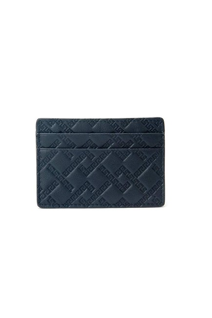 Versace Black Greek Keys Leather Embossed Logo Credit Card Id Wallet Versace Black Greek Keys Leather Embossed Logo Credit Card Id Wallet Image 1