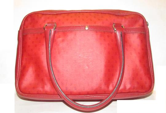 Fendi Mint Condition Top Handle Early Early Sas Cc/Leather Satchel in true red small F or 'Zucchino' logo print coated canvas and leather Image 1