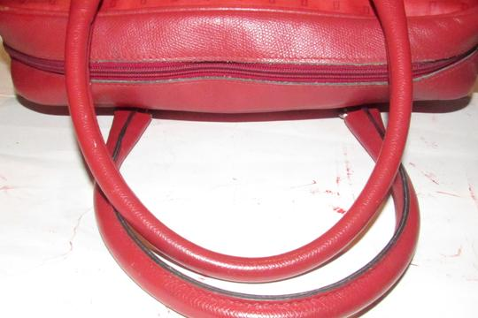 Fendi Mint Condition Top Handle Early Early Sas Cc/Leather Satchel in true red small F or 'Zucchino' logo print coated canvas and leather Image 10