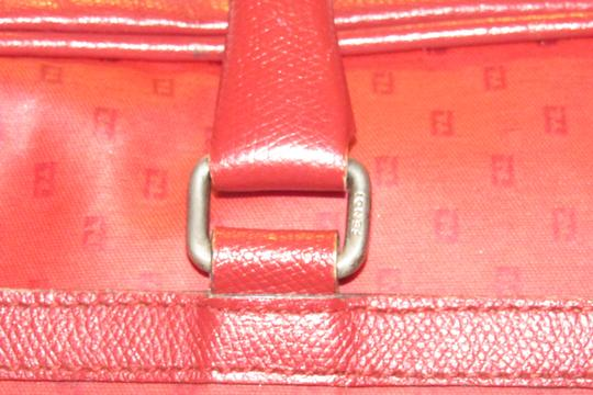 Fendi Mint Condition Top Handle Early Early Sas Cc/Leather Satchel in true red small F or 'Zucchino' logo print coated canvas and leather Image 11