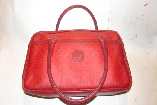 Fendi Mint Condition Top Handle Early Early Sas Cc/Leather Satchel in true red small F or 'Zucchino' logo print coated canvas and leather Image 4