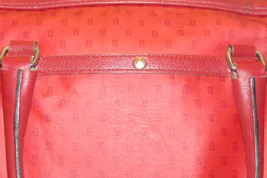 Fendi Mint Condition Top Handle Early Early Sas Cc/Leather Satchel in true red small F or 'Zucchino' logo print coated canvas and leather Image 6