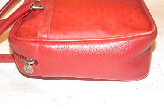 Fendi Mint Condition Top Handle Early Early Sas Cc/Leather Satchel in true red small F or 'Zucchino' logo print coated canvas and leather Image 9