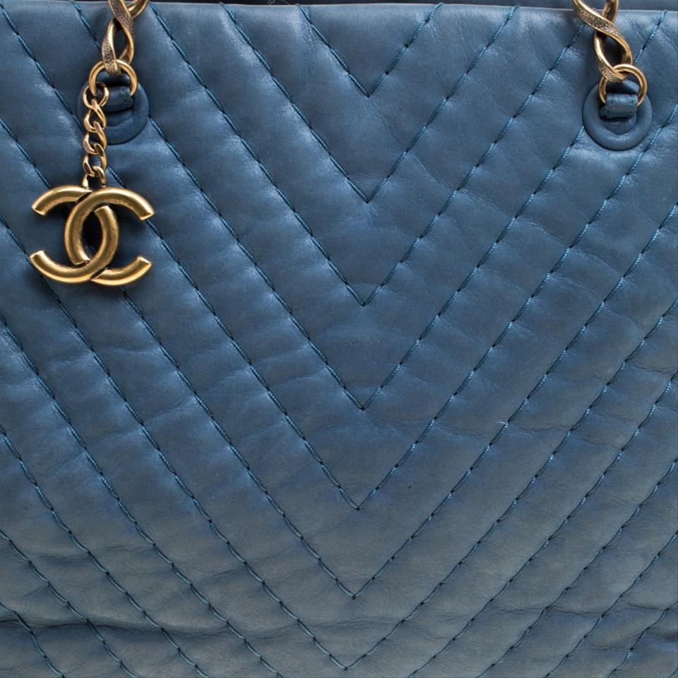 2ff0f0550af0 Chanel Iridescent Chevron Quilted Large Surpique Blue Leather Tote - Tradesy