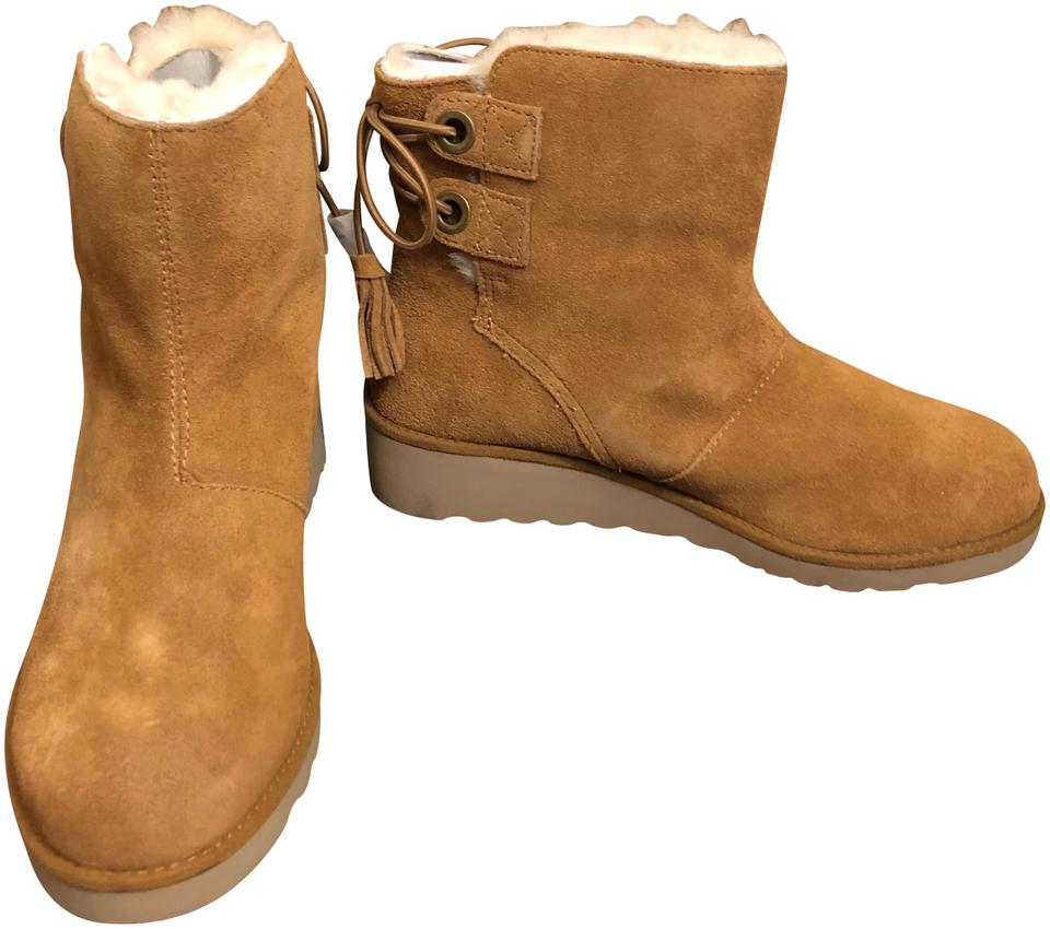 0d890bbb97b3 Koolaburra Chestnut New Ugg - Lomia Genuine Shearling Faux Fur Lined Wedge  Boots Booties