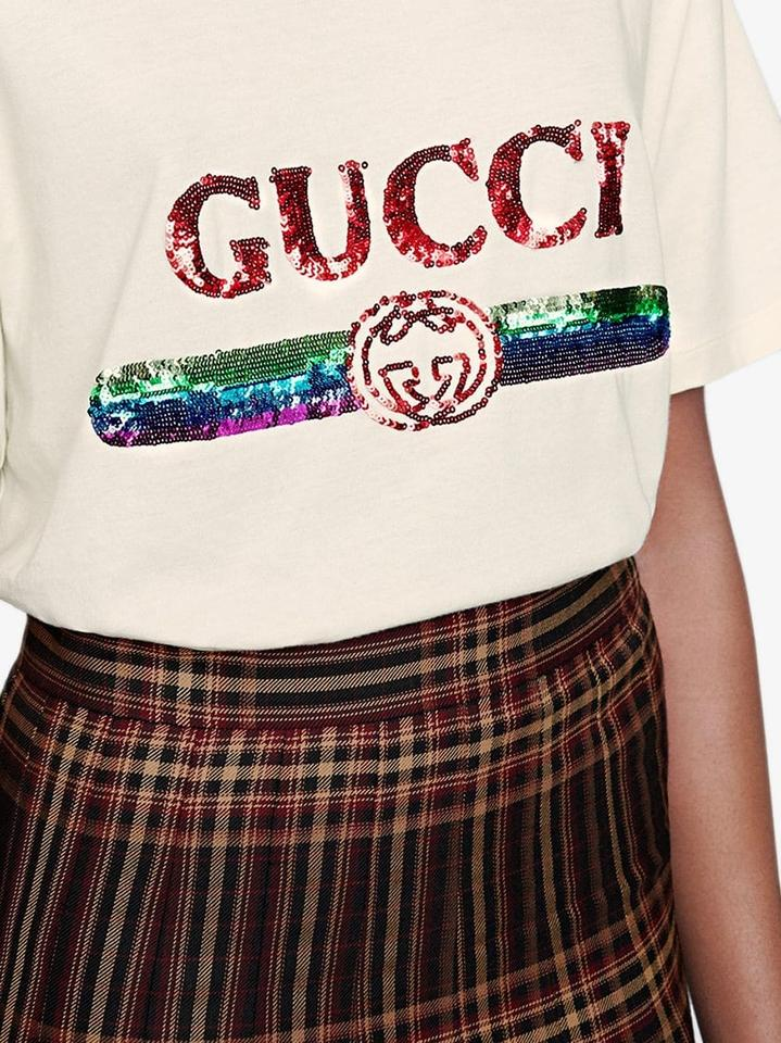 3b70f9c8 Gucci White New Oversize Sequin Logo S Small Tee Shirt Size 6 (S ...