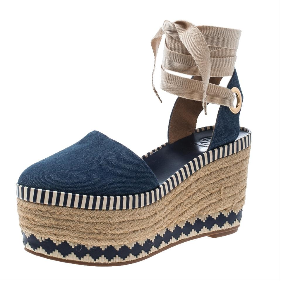 621b00219b3ff Tory Burch Blue Denim Dandy Ankle Wrap Espadrille Wedge Sandals Size EU  36.5 (Approx. US 6.5) Regular (M