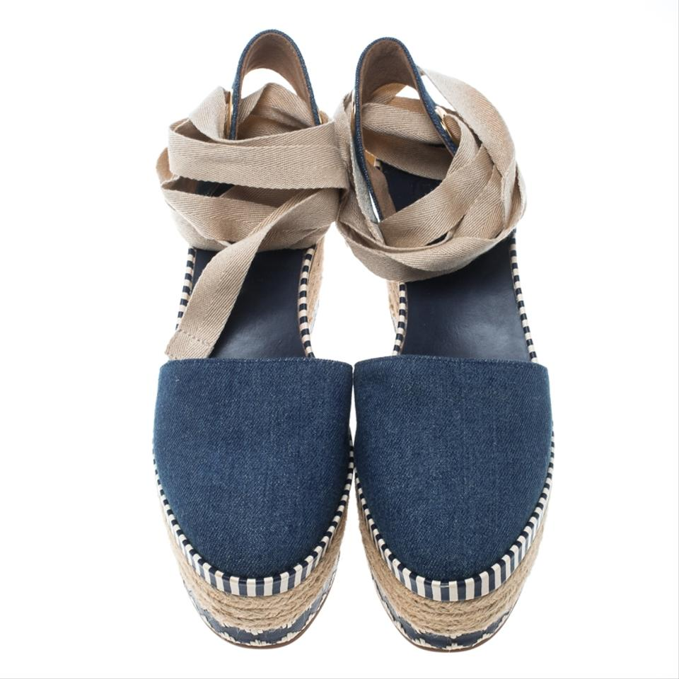7457aba97c02a Tory Burch Blue Denim Dandy Ankle Wrap Espadrille Wedge Sandals Size ...