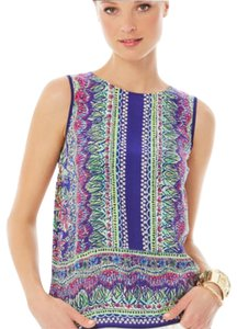 """Lilly Pulitzer Top blue green pink white """"bright navy"""""""