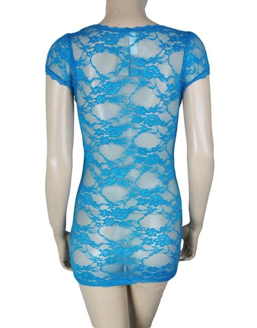 Bozzolo Sheer Floral Lace Short Sleeve Pullover Top Blue Image 1