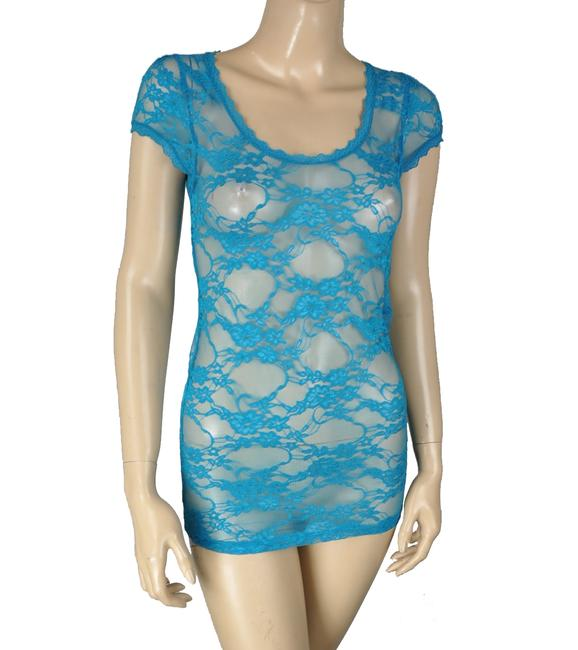 Bozzolo Sheer Floral Lace Short Sleeve Pullover Top Blue Image 2