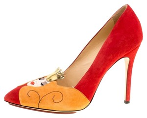 Charlotte Olympia Suede Red Pumps