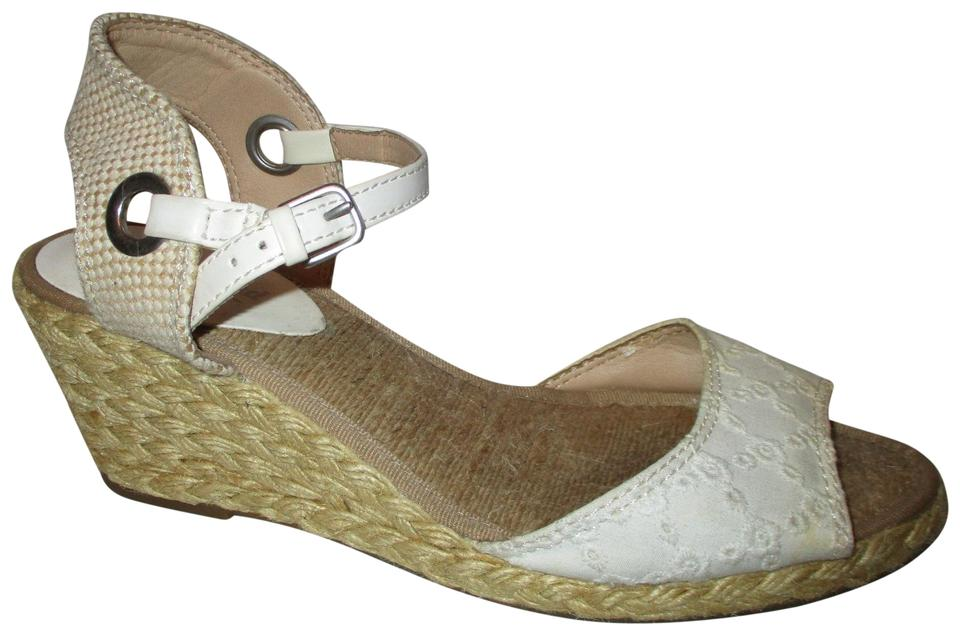 a3dfce2ac Lucky Brand White & Tan Kyndra Espadrille Wedge Sandals Size US 8.5 ...