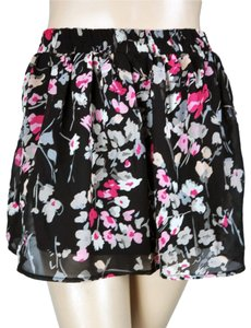 Wet Seal A-line Gathered Floral Circle Mini Skirt Black