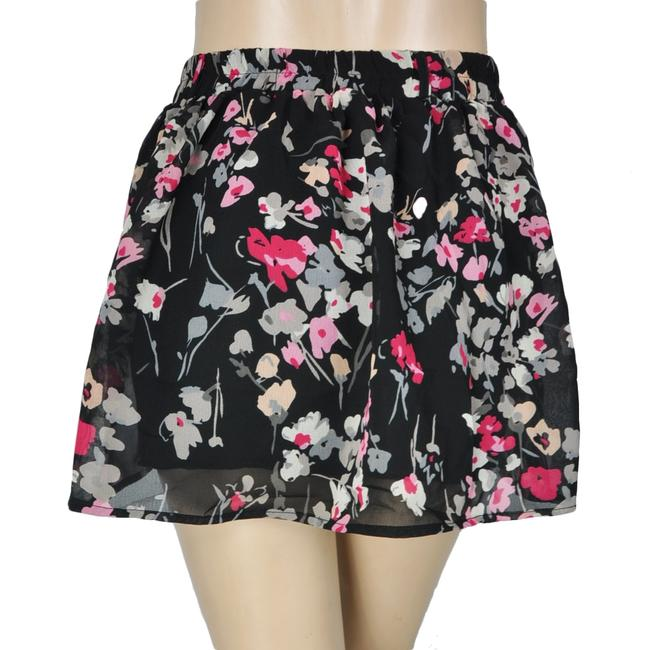 Wet Seal A-line Gathered Floral Circle Mini Skirt Black Image 1
