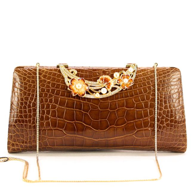 Item - Shoulder Bag Crocodrile Clutch/Shoulder W/Enamel Flowers Brown Leather Clutch