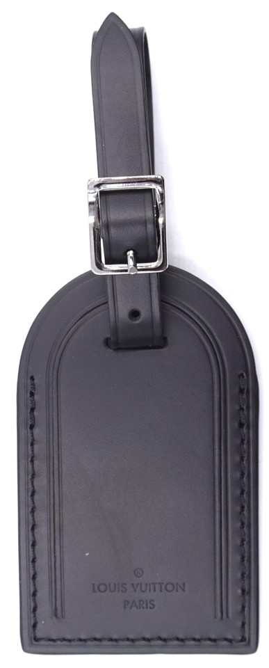 bb0ed2cbe8c6 Louis Vuitton black smooth calf Leather Luggage Tag keepall alma speedy  Image 0 ...