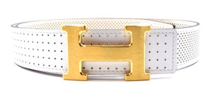Hermès RARE 32Mm classic gold brushed H Reversible perforated Belt Size 80