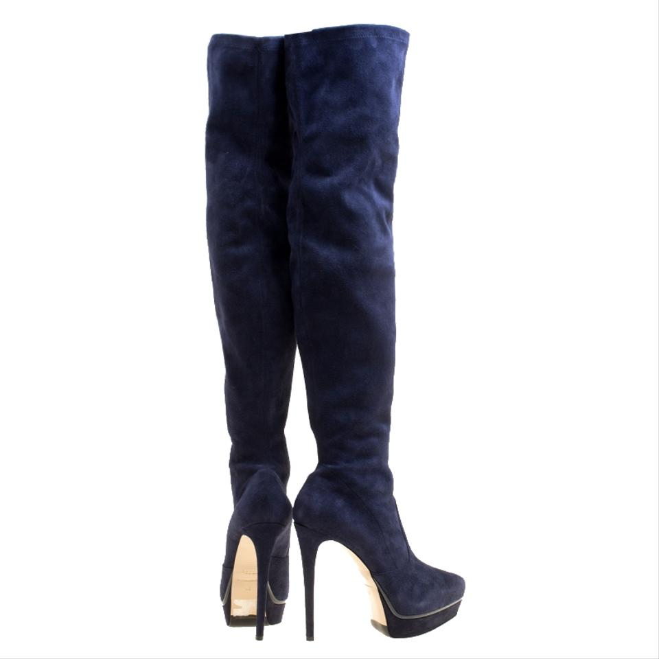 5352f8e22cfb7 Le Silla Blue Navy Stretch Velour Knee High Pointed Boots/Booties ...