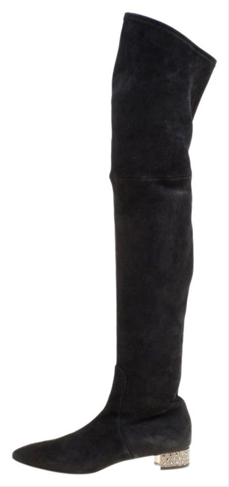 826e0c9ec68 Casadei Black Suede Crystal Embellished Heel Over The Knee Boots Booties