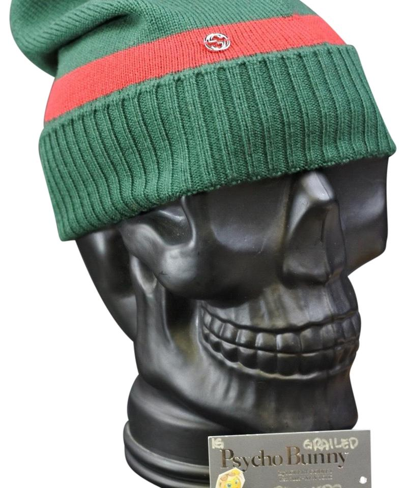 2d7d51a2014 Gucci Green Red Wool Gg Beanie Hat - Tradesy