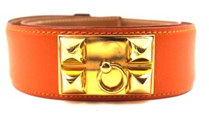 Hermès Gold CDC Collier De Chien Stud leather Belt Size 72