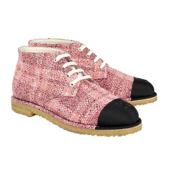 Chanel Cap Toe Tweed Pink Boots Image 4