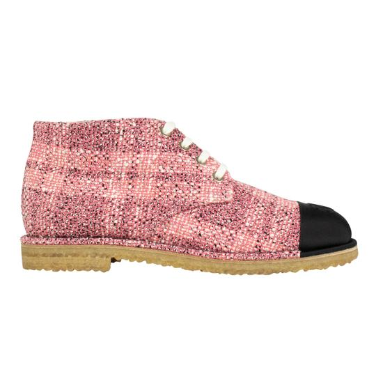 Chanel Cap Toe Tweed Pink Boots Image 5