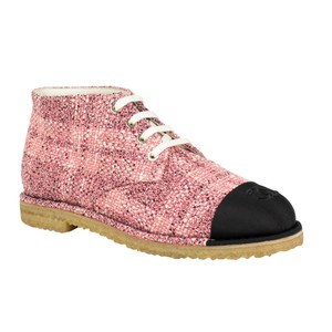 Chanel Cap Toe Tweed Pink Boots