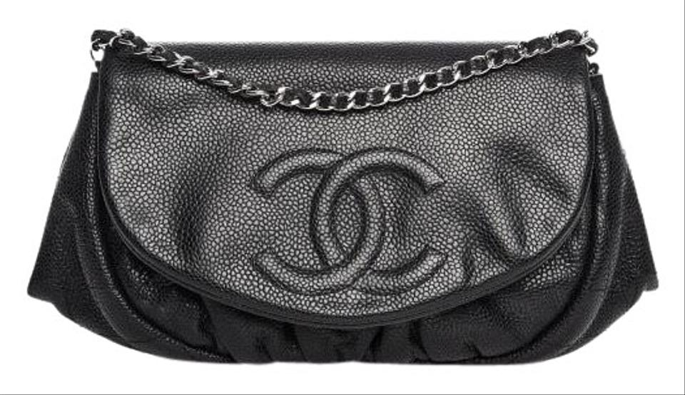 f489ed19d8f8 Chanel Wallet on Chain Half Moon Black Caviar Leather Cross Body Bag ...